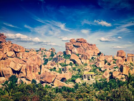 remnants: Vintage retro effect filtered hipster style image of ancient ruins of Hampi. Karnataka, India