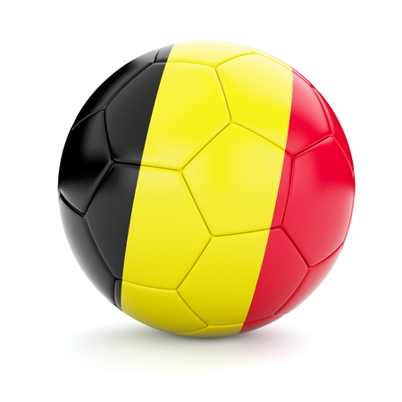 cutouts: 3d rendering of Belgium soccer football ball with Belgian flag isolated on white background