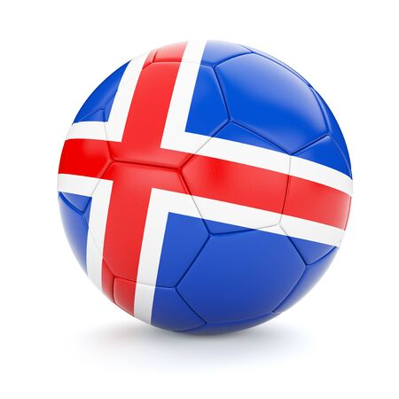 iceland flag: 3d rendering of Iceland soccer football ball with Iceland flag isolated on white background