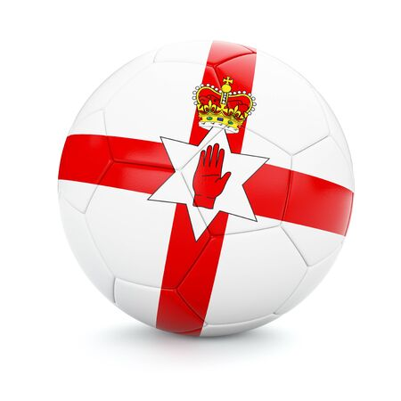cutouts: 3d rendering of Northern Ireland soccer football ball with flag isolated on white background Stock Photo