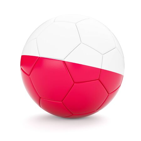 polish flag: 3d rendering of Poland soccer football ball with Polish flag isolated on white background