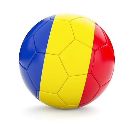 romanian: 3d rendering of Romania soccer football ball with Romanian flag isolated on white background