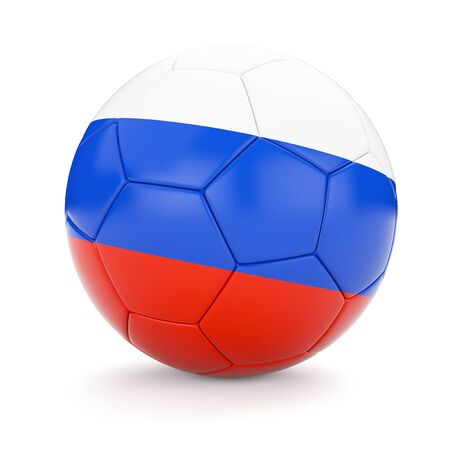 cutouts: 3d rendering of Russia soccer football ball with Russian flag isolated on white background Stock Photo
