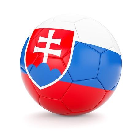 slovakian: 3d rendering of Slovakia soccer football ball with Slovakian flag isolated on white background