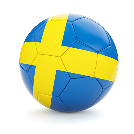 swedish: 3d rendering of Sweden soccer football ball with Swedish flag isolated on white background Stock Photo