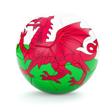 british isles: 3d rendering of Wales soccer football ball with Welsh flag isolated on white background