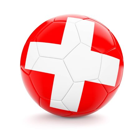 cutouts: 3d rendering of Switzerland soccer football ball with Swiss flag isolated on white background Stock Photo