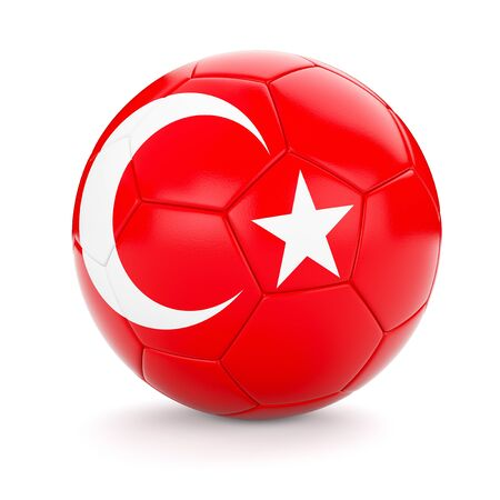 turkish flag: 3d rendering of Turkey soccer football ball with Turkish flag isolated on white background