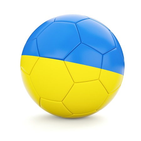 ukrainian flag: 3d rendering of Ukraine soccer football ball with Ukrainian flag isolated on white background