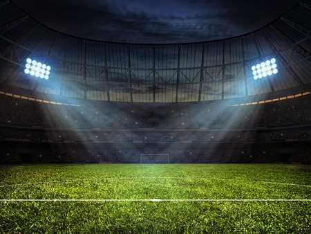 Sport concept background - soccer footbal stadium with floodlights. Grass football pitch with mark up and soccer goal with net