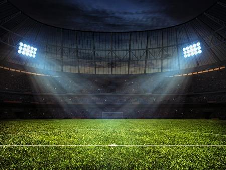 Sport-Konzept-Hintergrund - Fußball-Fußballstadion mit Flutlicht. Grass Fußballplatz mit Markierung und Fußballtor mit Netz