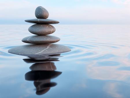 zen attitude: rendu 3d de pierres zen dans l'eau avec la réflexion - la paix équilibre méditation concept de relaxation