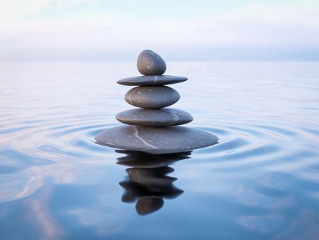balanza: representación 3D de Zen piedras en el agua con la reflexión - la paz el concepto de relajación balance de la meditación Foto de archivo