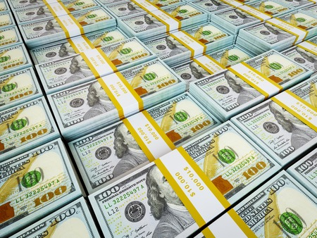 bundles: Finance wealth money concept - background of rows of US dollars bundles new 2013 edition Stock Photo