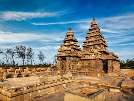 architectural heritage of the world: Famous Tamil Nadu landmark - Shore temple, world heritage site in Mahabalipuram, Tamil Nadu, India