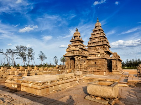 mamallapuram: Famous Tamil Nadu landmark - Shore temple, world heritage site in Mahabalipuram, Tamil Nadu, India
