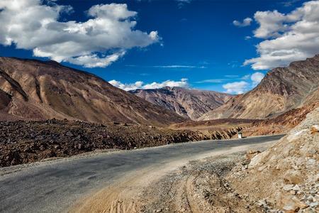 travelled: Manali-Leh road to Ladakh in Indian Himalayas near Baralacha-La pass. Himachal Pradesh, India Stock Photo