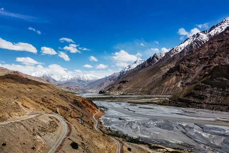 pradesh: Travel Himalayas background - Spiti Valley in Himalayas. Himachal Pradesh, India Stock Photo
