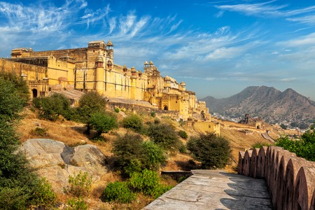 Indian travel famous tourist landmark - view of Amer (Amber) fort, Rajasthan, India