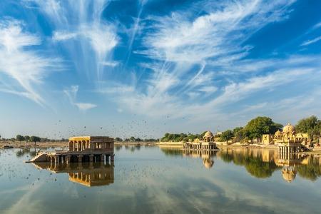 sagar: Indian tourist landmark Gadi Sagar - artificial lake. Jaisalmer, Rajasthan, India