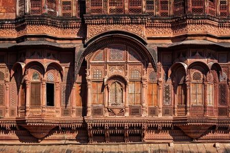 Decorated carved windows in Mehrangarh fort. Jodhpur, Rajasthan, India