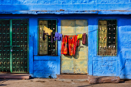 rajasthan: Vivid blue-painted house Jodphur the Blue City, Rajasthan, India