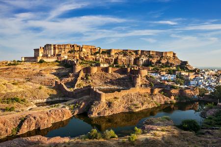 Famous Rajasthan indian tourist landmark - Mehrangarh Fort, Jodhpur, Rajasthan, India Stock Photo