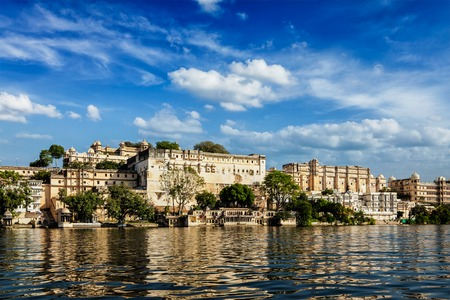 historical reflections: City Palace view from the lake. Udaipur, Rajasthan, India