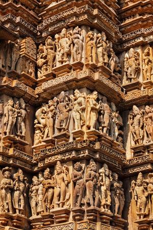 madhya: Famous stone carving sculptures, Vishvanath Temple, Khajuraho, India. Unesco World Heritage Site