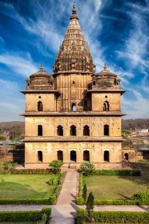 madhya: India tourist landmark - royal cenotaphs of Orchha. Orchha, Madhya Pradesh, India Stock Photo