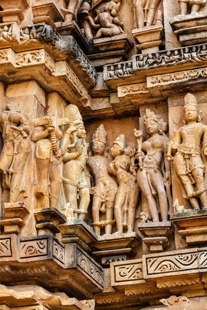 architectural exteriors: Famous stone carving sculptures, Vishvanath Temple, Khajuraho, India. Unesco World Heritage Site