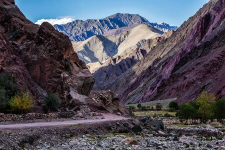 unsurfaced road: Leh-Manali road in Himalayas in Ladakh, India