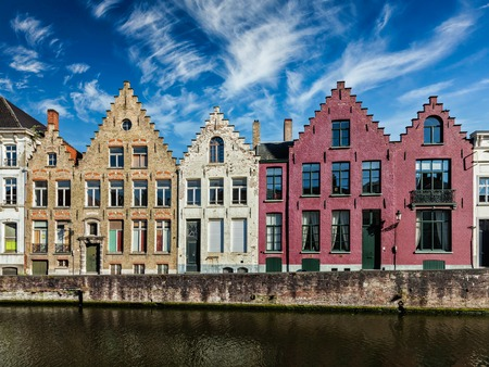 canal street: Old houses and canal in Bruges (Brugge) on sunset, Belgium Stock Photo