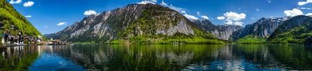 austrian: Austrian tourist destination - panorama of Hallstatt village and Hallstatter See mountain lake in Austria in Austrian alps. Salzkammergut region, Austria Stock Photo