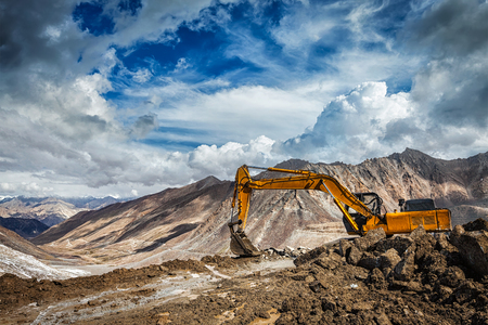 unsurfaced road: Road construction in mountains Himalayas. Ladakh, India
