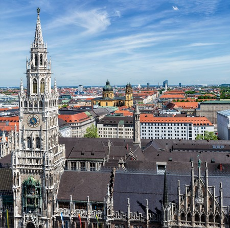 Aerial view of Munich over Neues Rathaus, Theatine Church of St. Cajetan (Theatinerkirche St. Kajetan) and Odeonplatz, Munich, Bavaria, Germany