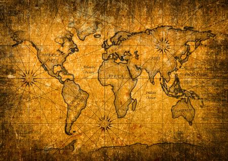 Carte vintage du monde avec grunge texture Banque d'images - 65820318
