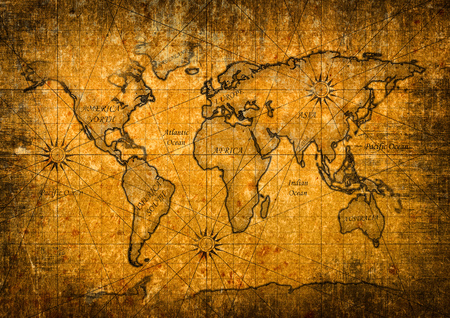 Vintage world map with grunge texture Banco de Imagens