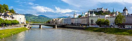 internationally: SALZBURG, AUSTRIA - MAY 1, 2012: Panorama of Salzburg Old Town and Hohensalzburg Castle on Festungsberg hill over Salzach river. Salzburg Altstadt is internationally renowned for baroque architecture