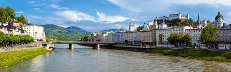 SALZBURG, AUSTRIA - MAY 1, 2012: Panorama of Salzburg Old Town and Hohensalzburg Castle on Festungsberg hill over Salzach river. Salzburg Altstadt is internationally renowned for baroque architecture