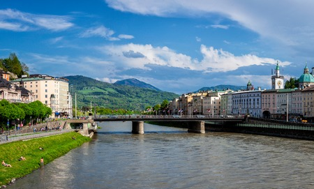 internationally: SALZBURG, AUSTRIA - MAY 1, 2012: Panorama of Salzburg Old Town over Salzach river. Salzburgs Altstadt is internationally renowned for its baroque architecture