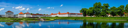 nymphenburg palace: MUNICH, GERMANY - MAY 8, 2012: Panorama of  Nymphenburg Palace (Schloss Nymphenburg). This  Baroque palace is the main summer residence of the former rulers of Bavaria of the House of Wittelsbach Editorial