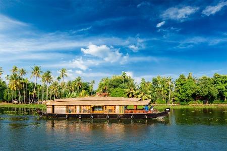 navigable: Houseboat on Kerala backwaters in Kerala, India