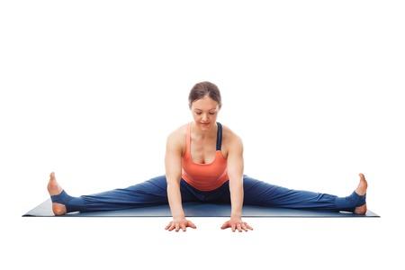 Woman doing Ashtanga Vinyasa Yoga asana Upavistha konasana
