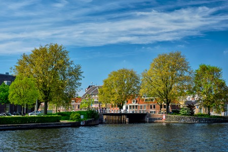 Canal in Haarlem, Netherlands Stock Photo