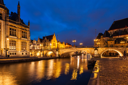 reflective: Ghent in the night, Belgium