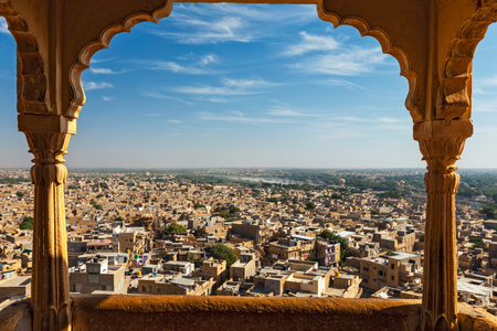 Jaisalmer 요새, 라자스탄, 인도에서 Jaisalmer 도시의 전망 스톡 콘텐츠