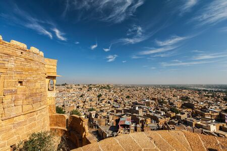 sonar: View of Jaisalmer city from Jaisalmer fort, Rajasthan, India