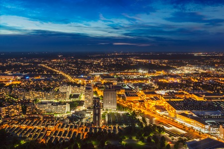 Night aerial view of Munich, Germany Banco de Imagens