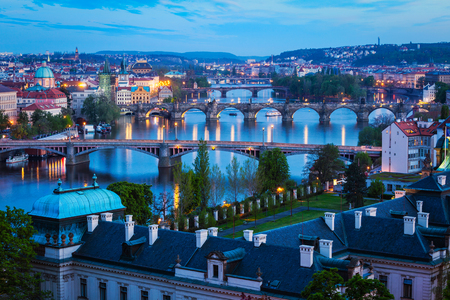 Evening view of Prague bridges over Vltava river Stock Photo